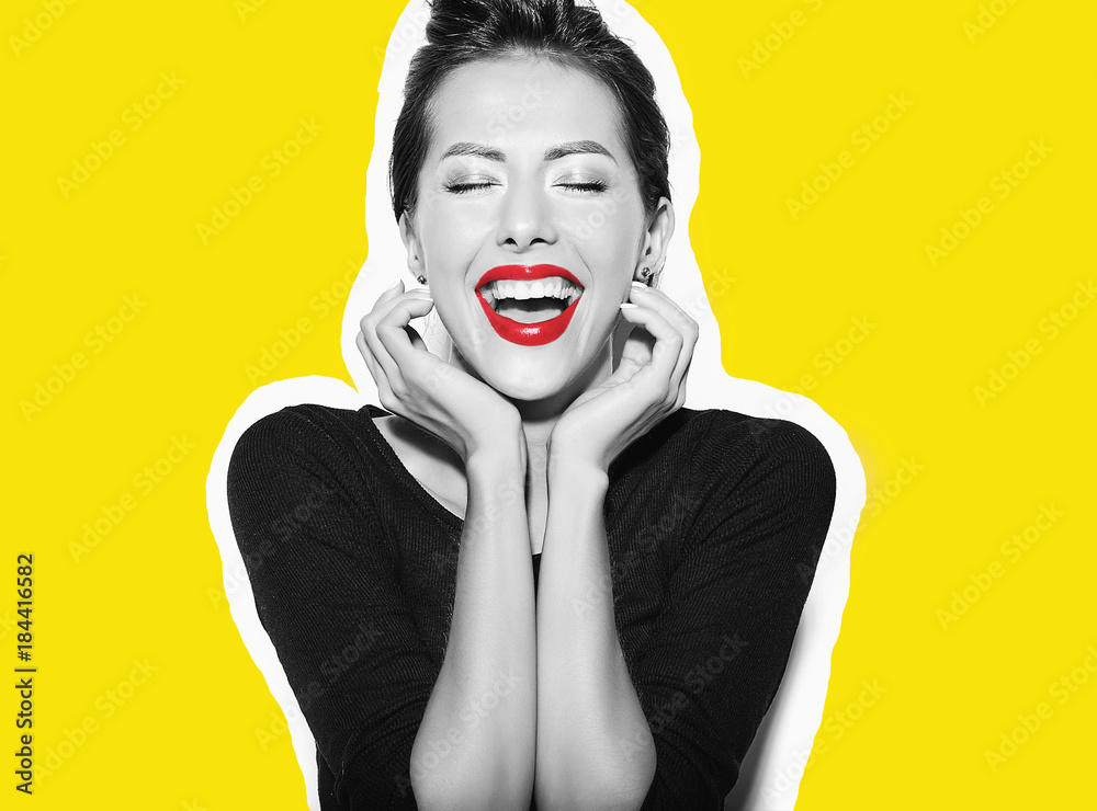 Fototapety, obrazy: beautiful happy cute sexy brunette woman in casual black dress with red lips on white background