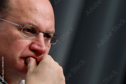Mark Tucker, HSBC group chairman, attends a news conference during