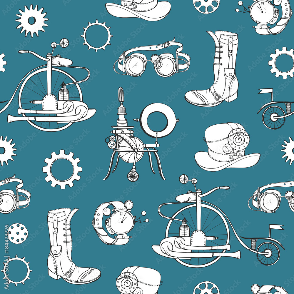 Seamless pattern with steampunk attributes and apparel hand drawn with contour lines in monochrome colors on blue background. Vector illustration for wallpaper, wrapping paper, textile print.