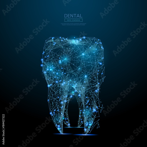 Fotografía  Abstract image of tooth low poly wireframe in the form of a starry sky or space, consisting of points, lines, and shapes in the form of planets, stars and the universe