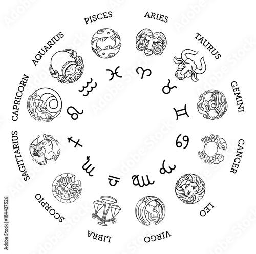 Obraz Astrological horoscope zodiac star signs symbols - fototapety do salonu