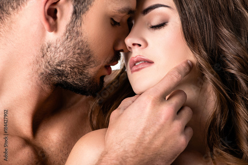 acctractive sensual couple isolated on white Poster Mural XXL