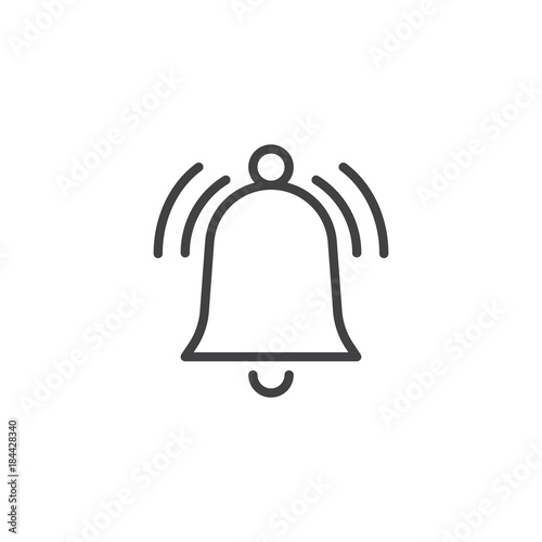 Fotografie, Obraz Ringing bell line icon, outline vector sign, linear style pictogram isolated on white