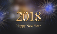 2018 Card, New Year's Eve Illu...