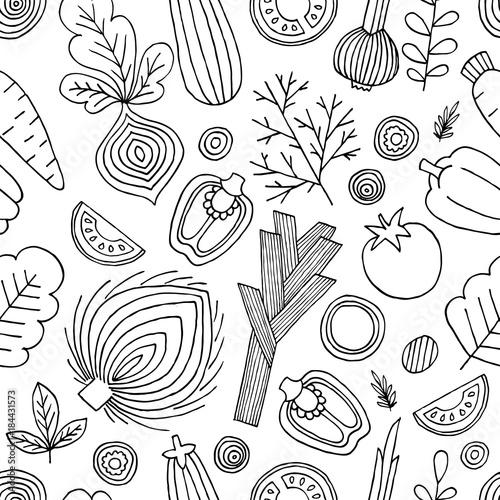 warzywa-bezszwowy-wzor-grafika-liniowa