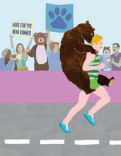 Marathon Runner With Bear On His Back