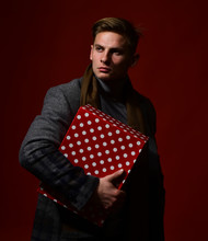 Man In Vintage Style With Gift Box. Macho With Present