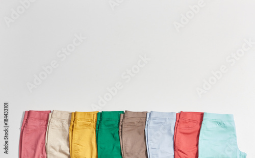 Fotografie, Obraz  colorful trousers isolated and empty area foradvertisement