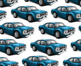 Seamless texture with a blue racing vehicle.  Repeating background. Tile pattern. - 184434102
