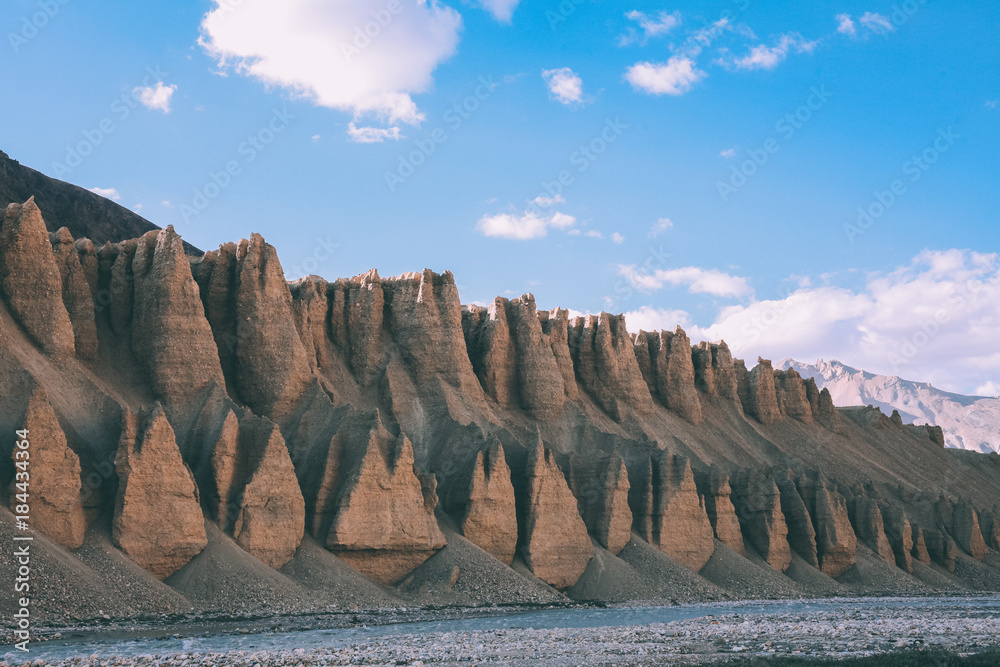 Fototapeta majestic scenic natural formations and mountain river in Indian Himalayas, Ladakh region