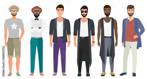 Stylish handsome men dressed in modern casual fashion male style clothes, vector illustration. Cartoon flat vector illustration.