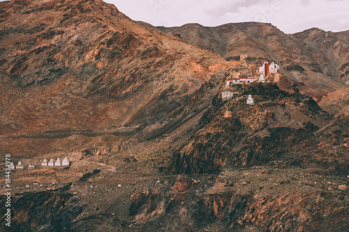 Printed kitchen splashbacks Brown beautiful rocky mountains with traditional architecture in Indian Himalayas, Ladakh region
