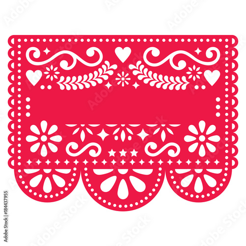 Fotografija  Mexican Papel Picado vector template design - traditional red vector pattern wit