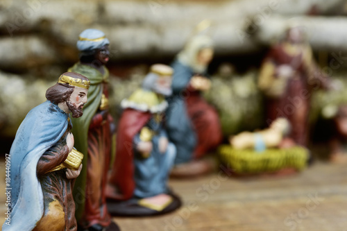 Photo the three kings adoring the Child Jesus