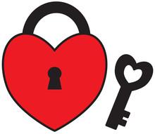 Heart Shape Lock Or Padlock Wi...