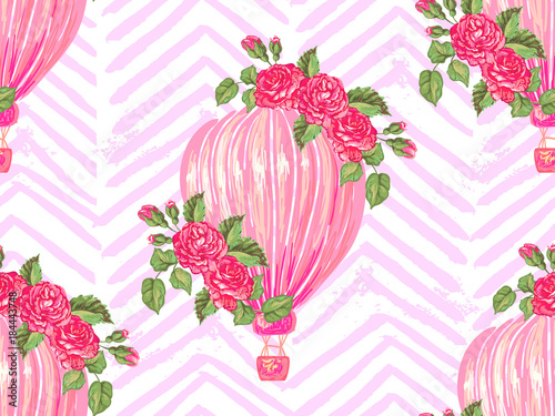 Seamless pattern with hot air balloon, rose flower vector background. Perfect for wallpaper, pattern fill, web page background, surface textures, textile
