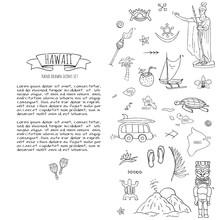 Hand Drawn Doodle Hawaii Icons...
