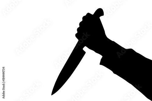 Shadow of killing knife in hand, isolated on white background Wallpaper Mural
