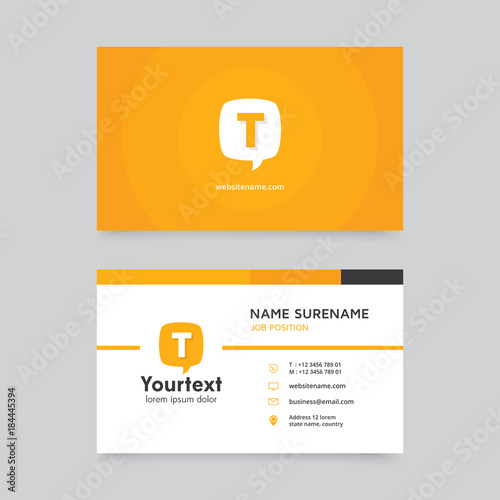 Vector modern creative and clean business card template, flat design with yellow color and communication symbol logo, business card vector template