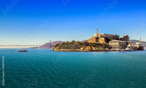 San Francisco bay with Alcatraz Island  and Golden Gate Bridge  on sunny day Wallpaper Mural