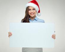 Woman Wearing Christmas Hat Ho...
