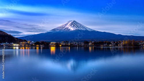 Wall Murals Kyoto Fuji mountain and Kawaguchiko lake in morning, Autumn seasons Fuji mountain at yamanachi in Japan.