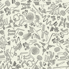 Seamless pattern with drawings in the form of rock carvings.