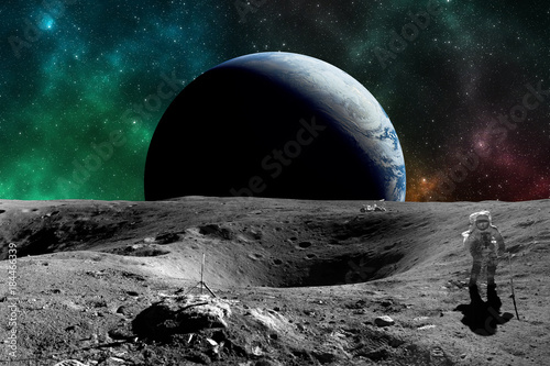 Wall Murals Nasa Astronaut on the Moon. Planet earth in background. Elements of this image furnished by NASA