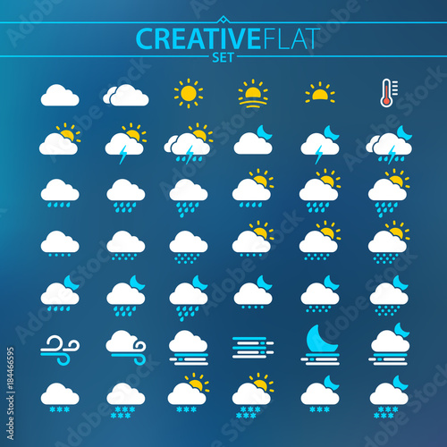 Fotografie, Tablou Flat Light Weather Icons For Mobile And Web Design