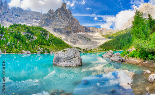 Garden Poster Dark grey Sorapiss Lake in italian alps, Europe