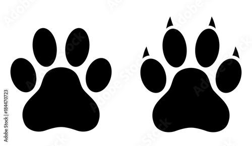 Cuadros en Lienzo Dog paw print set. Paw icon. Vector illustration.