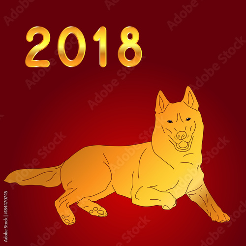 gold lettering 2018 yellow earth dog on a red background chinese new year