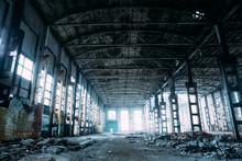 Abandoned Industrial Creepy Warehouse, Old Dark Grunge Factory Building