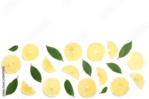 Foto op Canvas Bloemen lemon with leaves and slices isolated on white background with copy space for your text. Flat lay, top view
