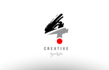 4 Grunge Black Grey Number Logo Icon Design