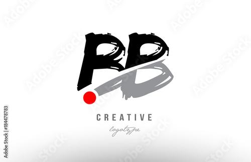 Grunge Red Dot Bb B B Alphabet Letter Logo Combination
