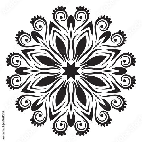 Photo  Ornamental round doodle flower isolated on white background