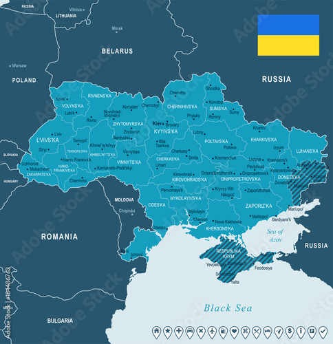 Obraz na plátně Ukraine - map and flag - Detailed Vector Illustration