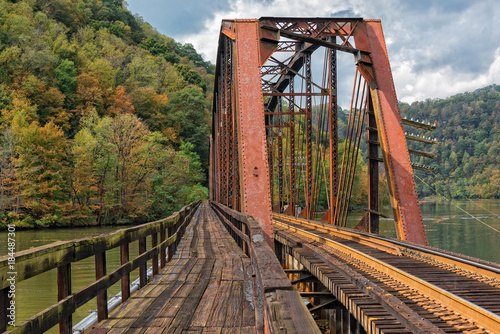 Railroad Trestle At Hawks Nest State Park In West Virginia Fototapet