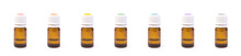Row Of Various Colored Essential Oil Bottles With Rainbow Colored Labels