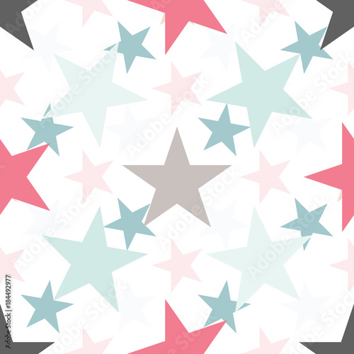 Cotton fabric Cute colorful star seamless pattern on white. Funny festive background, wrapping paper. Vector illustration.