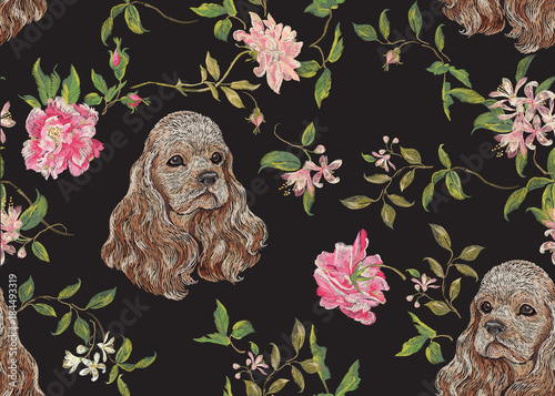 Embroidery floral pattern with dog and roses Fototapet