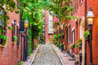 Acorn Street, Boston, Massachusetts, USA.