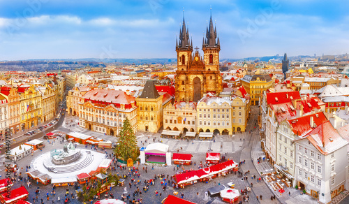 Prague Prague. Panoramic aerial view of Chrismtas market. Seasonal winter scenery in sunny day.