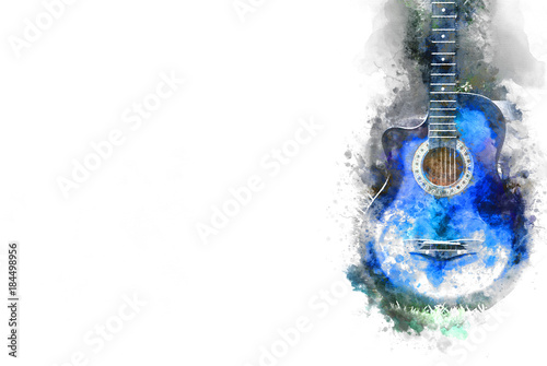 Fotografie, Obraz  Abstract Guitar in the foreground Close up on Watercolor painting background