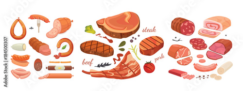 Fotografia  Different types of meat products set