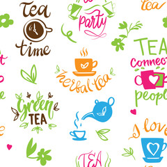 Fototapeta Do herbaciarni Teatime quote set vector lettering cup of tea vintage print tea time typography poster design teapot five o clock isolated illustration seamless pattern background