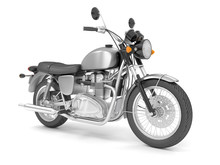 3d Illustration Classic Black Gray Motorcycle Isolated On A White Background.