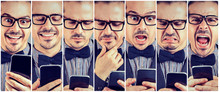 Collage Of Expressive Man With Smartphone