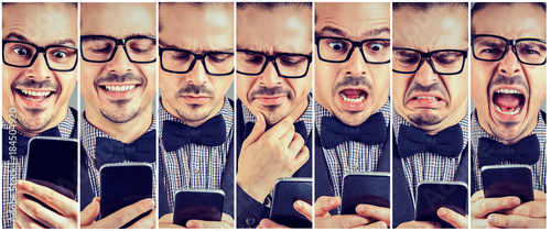 Photo Collage of expressive man with smartphone